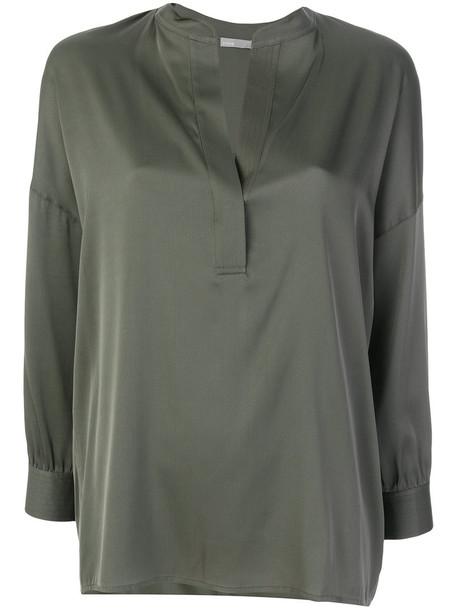 Vince blouse women spandex silk green top
