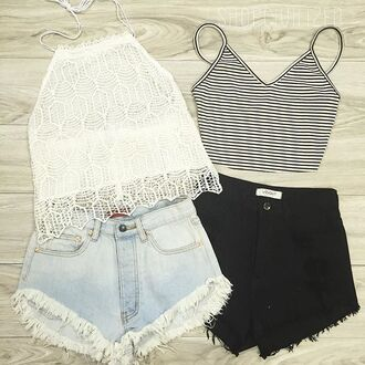 tank top shorts denim
