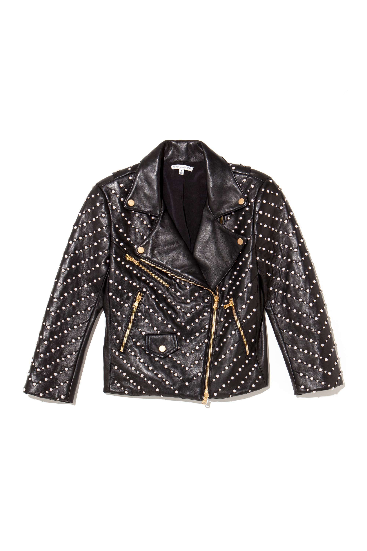 Pearl Embellished Wes Moto Jacket