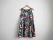 floral,mini dress,cute dress,vintage,blue dress,yellow dress,pink dress,red dress,dress
