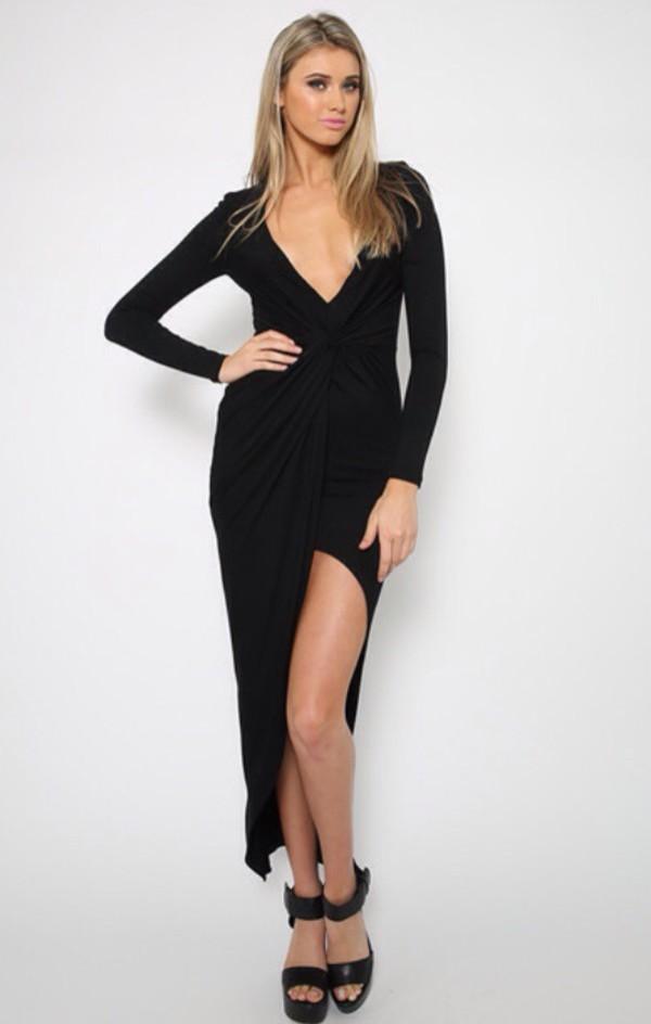 dress black dress black maxi dress fashion style wrap dress www.ebonylace.net