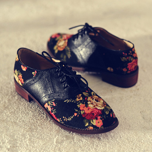 [grxjy5190757]british style floral print lace up flat heel shoes