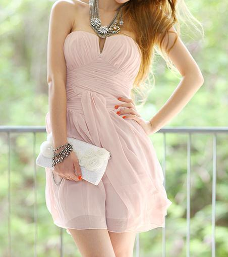 Sweet pink strapless nice sexy dress / fanewant