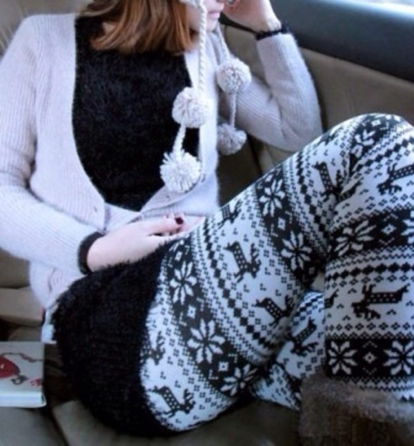 pants deer leggings aztec leggings holidays snowflake leggings
