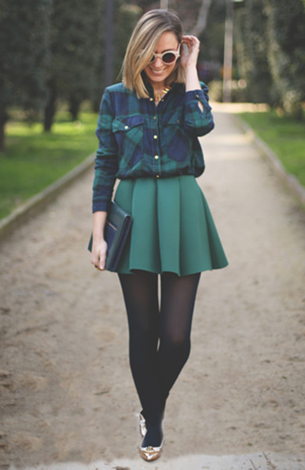 skirt green pleated skirt pleated green skirt shirt preppy