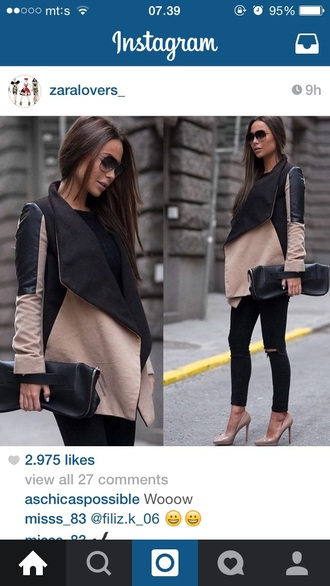 coat pink black zara