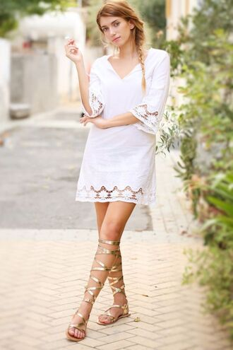 shoes sandals flat sandals gold sandals gold flat sandals dress white dress lace dress summer dress summer outfits knee high gladiator sandals gladiators gold low heel sandals boho dress mesh dress v neck dress