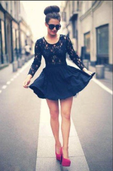 lace dress navy blue dress casual