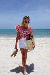 top,tumblr,gingham,off the shoulder,off the shoulder top,shorts,white shorts,bag,beach bag,espadrilles