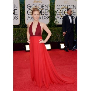 Amy adams red halter neck prom dress at 2014 golden globe awards red carpet