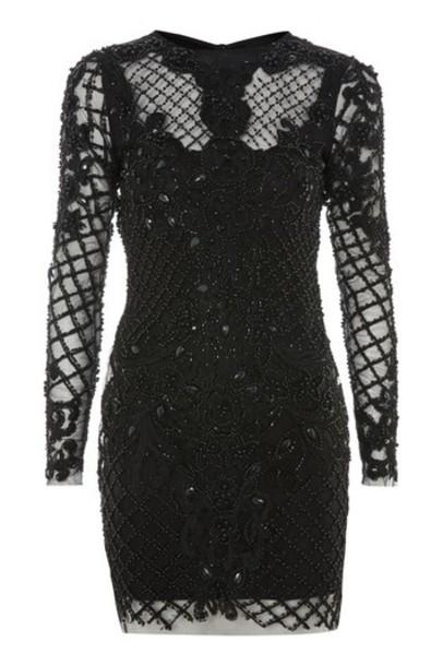 Topshop dress bodycon bodycon dress mini embellished black