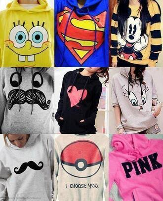 sweater clothes pokemon spongebob mickey mouse heart pink moustache superman blue birdy red black blouse mickymouse jacket pretty