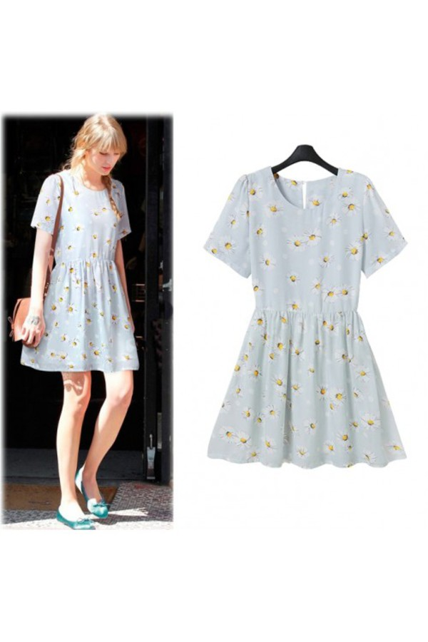 kcloth pushing daisy daisy printed midi dress blue dress chiffon dress