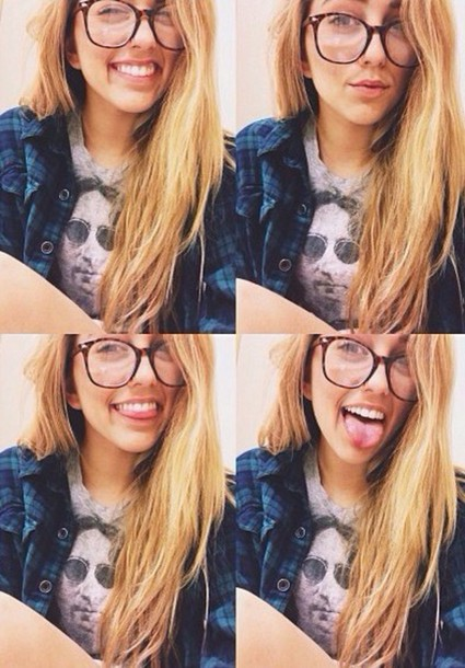 shirt flannel shirt tumblr girl lycia faith lycia faith glasses youtuber magcon/viners blonde hair