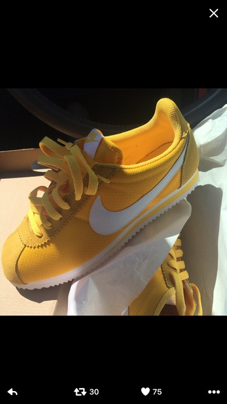 shoes nike cortez yellow nike sneakers nike yellow sneakers nike shoes