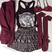 t-shirt,tumblr outfit,boho patterns shorts,underwear,burgundy,cardigan,blouse,bag,shirt,socks,tank top,shorts
