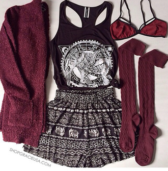 t-shirt tumblr outfit boho patterns shorts underwear burgundy cardigan blouse bag shirt socks tank top