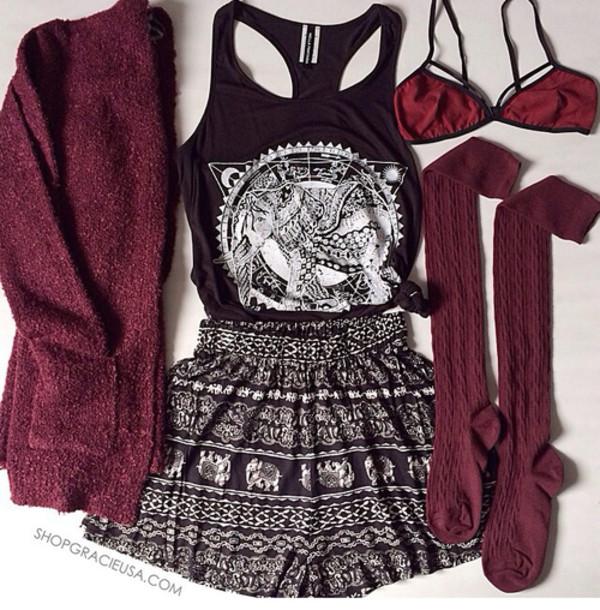 t-shirt tumblr outfit boho patterns shorts underwear burgundy cardigan blouse bag shirt socks tank top shorts