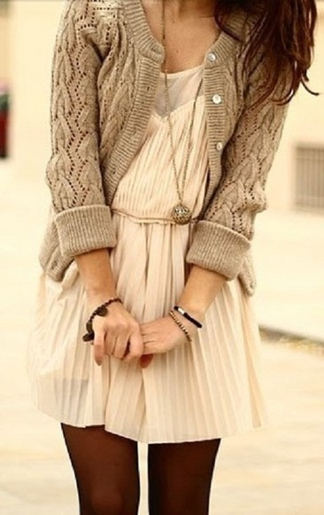 dress cream pleated dress warm sweater long necklace casual dress Fruity-Girl autumn winter outfits knit sweater knit cardigan knit white dress white stocking sweater jacket pink sheer bulky tan button up cream dress lace dress cardigan beige knitted cardigan brown neutral light brown cardigan coat knee length