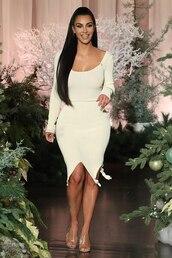dress,beige,beige dress,kim kardashian,kardashians,celebrity,bodycon dress
