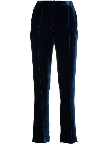 GOLDEN GOOSE DELUXE BRAND high waisted high women blue silk velvet pants