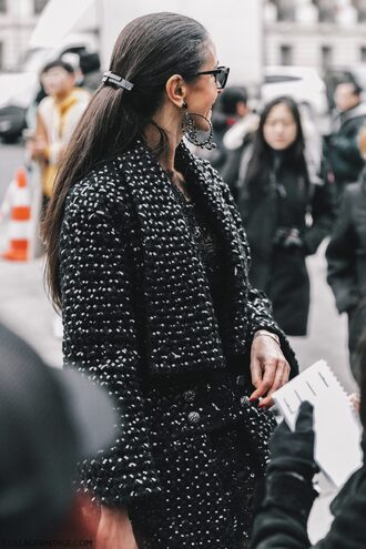 coat fashion week 2017 tumblr printed coat streetstyle hairstyles long hair sunglasses earrings jewels jewelry