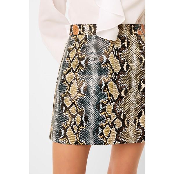 Adila PU Faux Snake Mini Skirt - mixed reptile multi