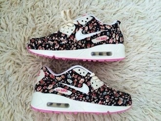 shoes black white floral nike cute style