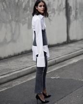 shirt,tumbr,white shirt,denim,jeans,grey,pumps,pointed toe pumps,high heel pumps,black heels,spring outfits