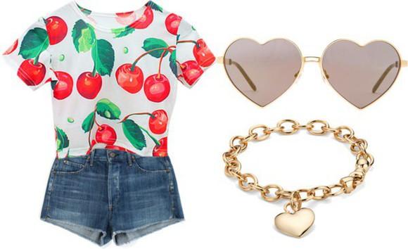 t-shirt crop tops cherry red crop top , shorts