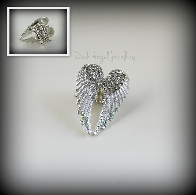 Angel wings ring (silver rhinestone)