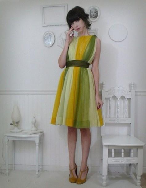 dress chiffon dress yellow green multicolor dress green dress yellow dress