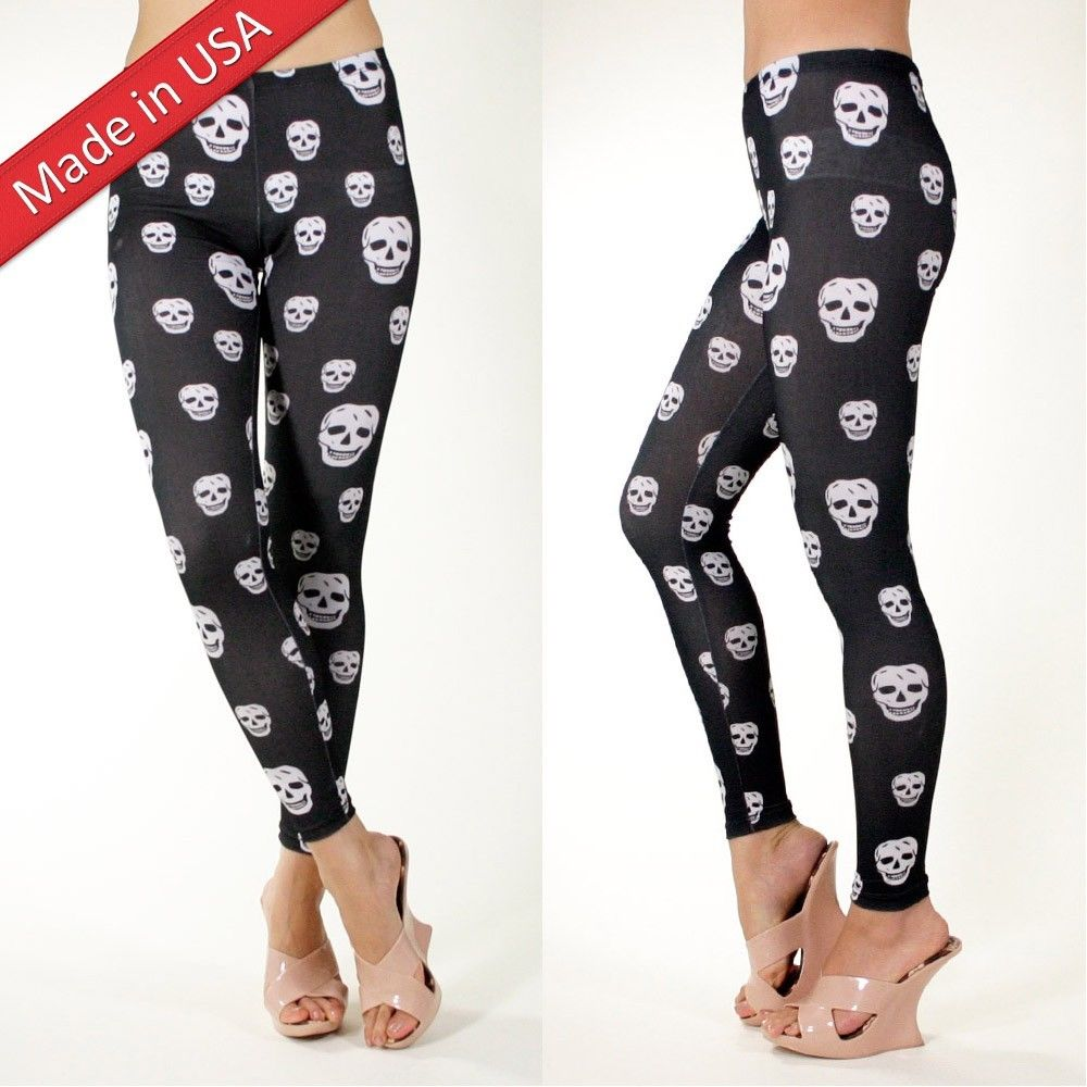 Black White Funny Comic Skull Bone Print Punk Gothic Emo Leggings Tights Pants