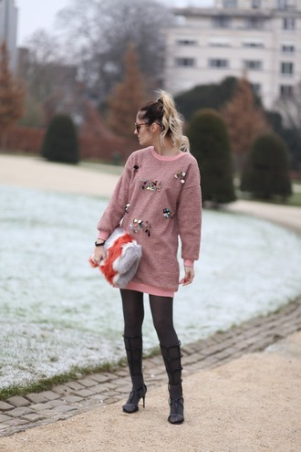 from brussels with love blogger sweater dress tights shoes bag sweater dress pink sweater high heel sandals sandals furry bag