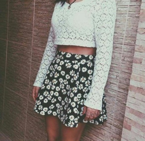 skirt daisy black skirt waw