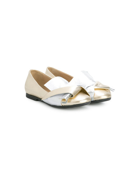 No21 Kids bow leather grey metallic shoes
