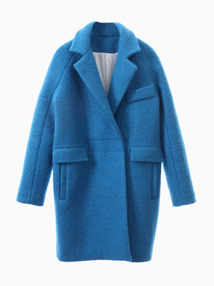 Blue Woolen Longline Ovoid Coat | Choies