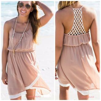 dress taupe sundress amazinglace crochet back pretty beach summer