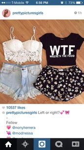 lace busier,classic shorts,wtf,flowered shorts,t-shirt,blouse,cute top,top,shirt,skirt