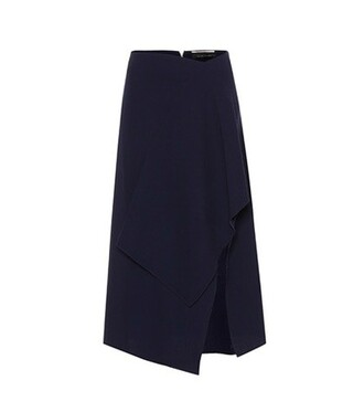skirt wool blue