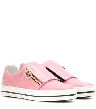 embellished sneakers leather pink shoes