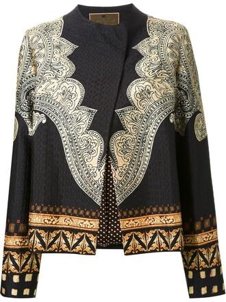 jacket women floral print black silk paisley