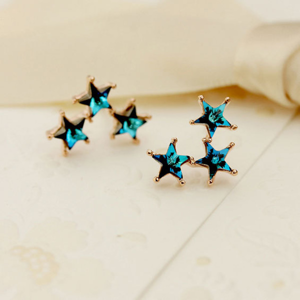 jewels earrings crystal blue stars