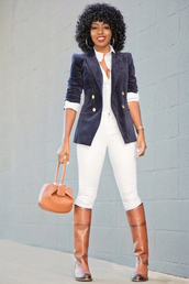 blogger,jacket,shirt,jeans,bag,shoes,blazer,blue jacket,knee high boots,boots,white jeans
