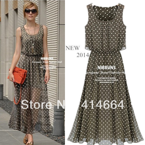 New 2014 Chiffon Polka Dot Maxi Dress,Women Casual Vintage Long Dress,Women Summer Dress,Bodycon Summer Maxi Dresses,XXXL | Amazing Shoes UK