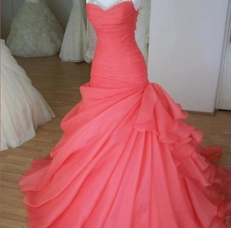 dress pink dress long dress strapless dress silver sparkle coral dress salmon dresses