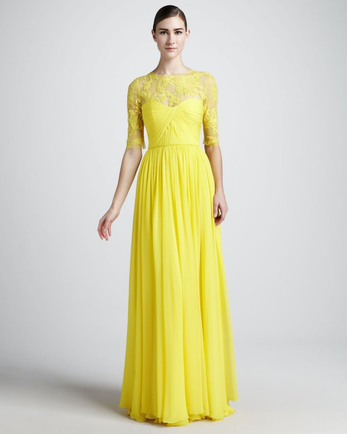 Aliexpress.com : Buy 2013 Best selling Yellow Lace Chiffon Modest Long Bridesmaid Dresses With Sleeves from Reliable lace sleep dress suppliers on Amana Wedding Dress Store No.1