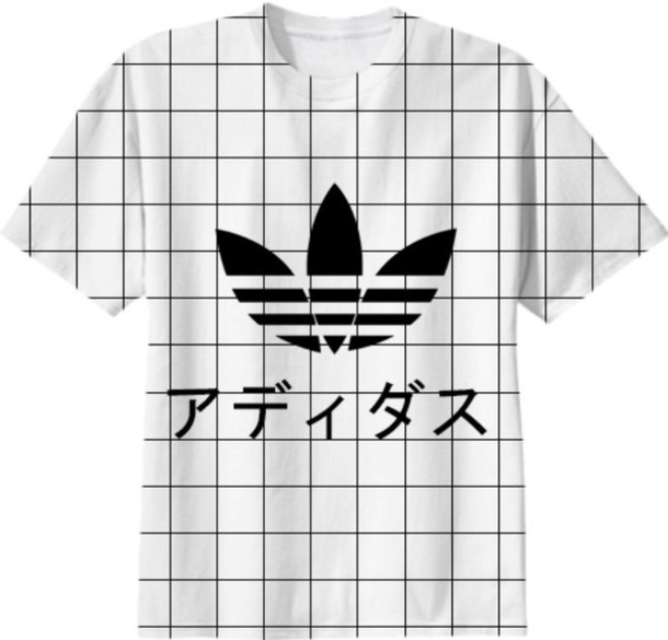 t-shirt adidas top japanese writing