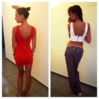 dress red dress summer low cut back open back