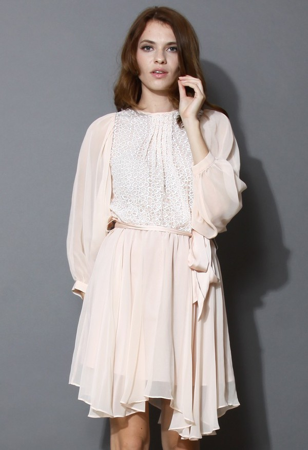 chicwish eyelet belted swing dress